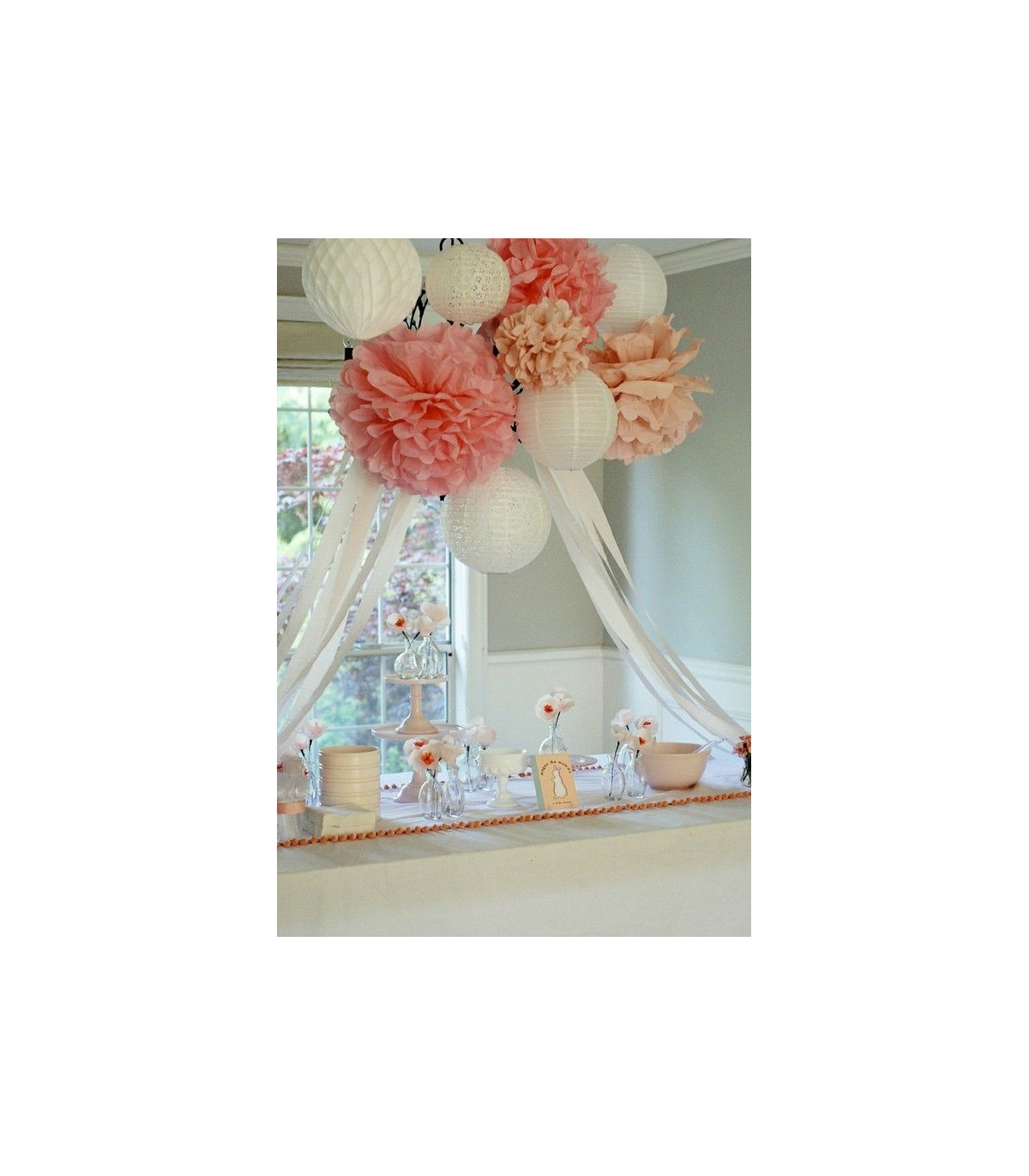 pompon deco salle papier de soie cr me couleur blanc. Black Bedroom Furniture Sets. Home Design Ideas