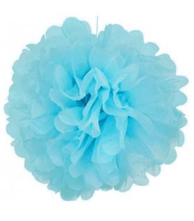 Pompon deco salle papier de soie Bleu Ciel