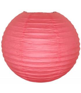 Lanterne en papier chinois boule deco Rouge corail