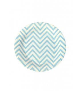 Assiette ronde 18 cm motif chevrons festive Bleu 12 pcs