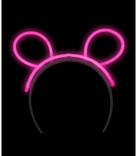 Serre tête oreilles de souris fluo lumineux Rose