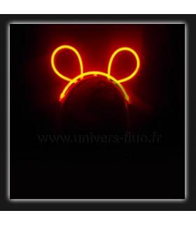 Serre tête oreilles de souris fluo lumineux Orange