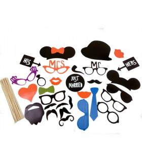 Kit Photobooth mariage accessoire Noir 30 pcs