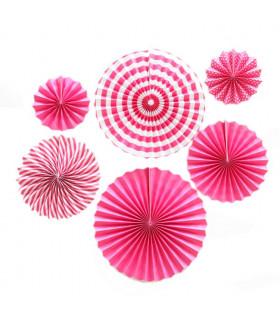 Kit deco de 6 Rosaces en papier Fushia