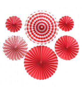 Kit deco de 6 Rosaces en papier Rouge