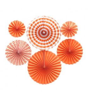 Kit deco de 6 Rosaces en papier Orange