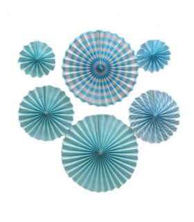 Kit deco de 6 Rosaces en papier Bleu Ciel