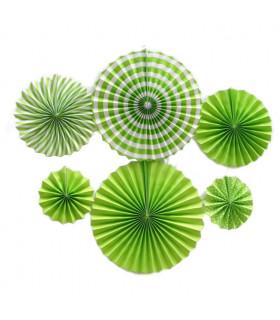 Kit deco de 6 Rosaces en papier Vert Lime