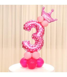 Kit Ballon Anniversaire Chiffre 3 fille Rose