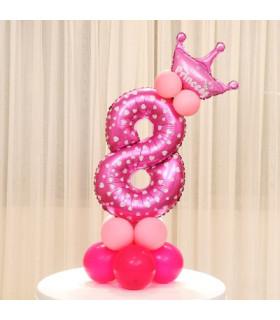 Kit Ballon Anniversaire Chiffre 8 fille Rose