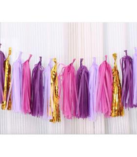 Guirlande de 20 tassels 4 couleurs Parme Violet Violine Or 4m20