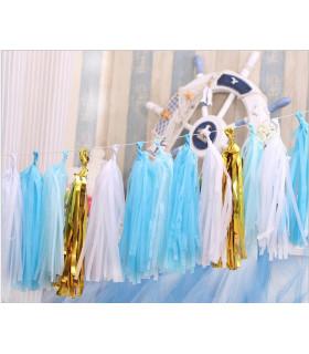 Guirlande de 20 tassels 4 couleurs Blanc Bleu ciel Bleu azur Or 4m20