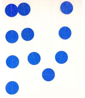 Guirlande Papier Rond Bleu Electrique 2.6M