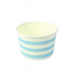 Petits pots motif rayures candybar Bleu 6 pcs