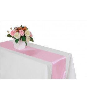 Chemin de table satin Rose 2m75