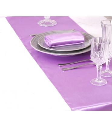 Chemin de table satin lavande 2m75 couleur violet - Chemin de table lavande ...