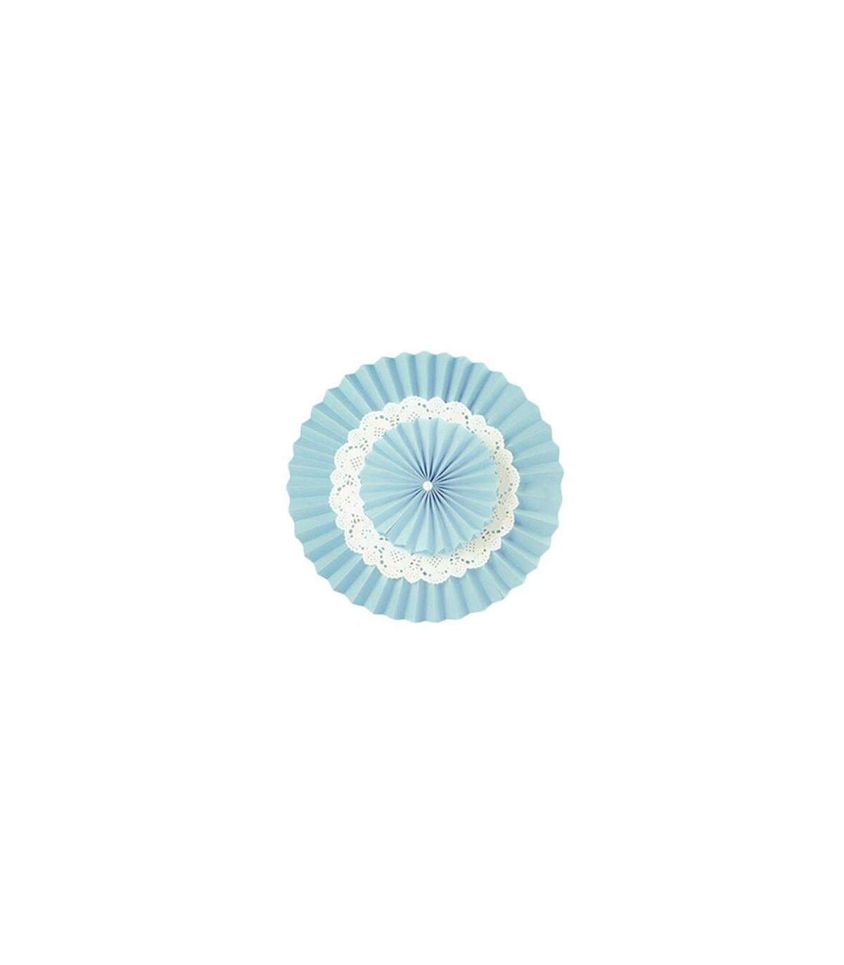 Couleur Avec Bleu Ciel double rosace bleu ciel en papier avec napperon en dentelle