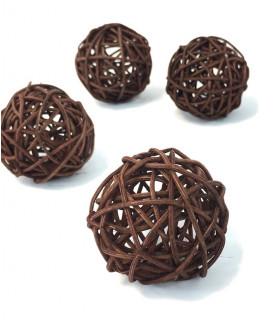 Boule en rotin deco table Chocolat lot de 5pcs