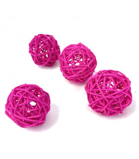 Boule en rotin deco table Fuchsia 5pcs