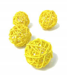 Boule en rotin deco table Jaune 5 pcs