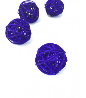Boule en rotin deco table Violet 5 pcs