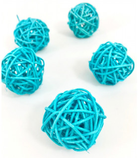 Boule en rotin deco table Bleu turquoise lot de 5 pcs