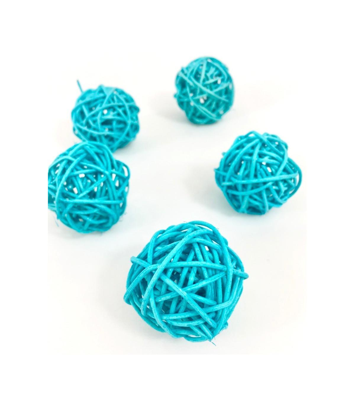 Boule En Rotin Deco Table Bleu Turquoise Lot De 5 Pcs Couleur Bleu