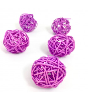 Boule en rotin deco table Mauve 5 pcs