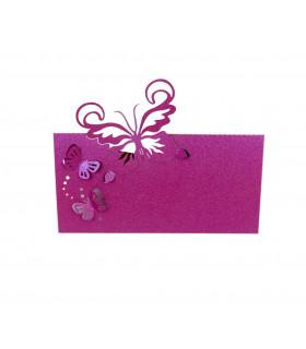Marque Place table modèle papillon relief Fuchsia nacré 20 pcs