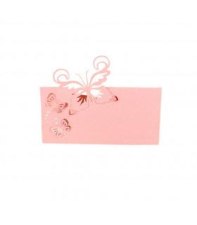 Marque Place table modèle papillon relief Rose 20 pcs