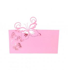 Marque Place table modèle papillon relief Rose Bonbon 20 pcs