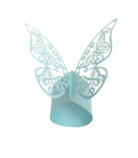 Rond de serviette mariage baptême décoration table Papillon Bleu Ciel 12 pcs