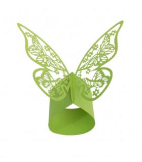 Rond de serviette mariage baptême décoration table Papillon Vert Pomme 12 pcs