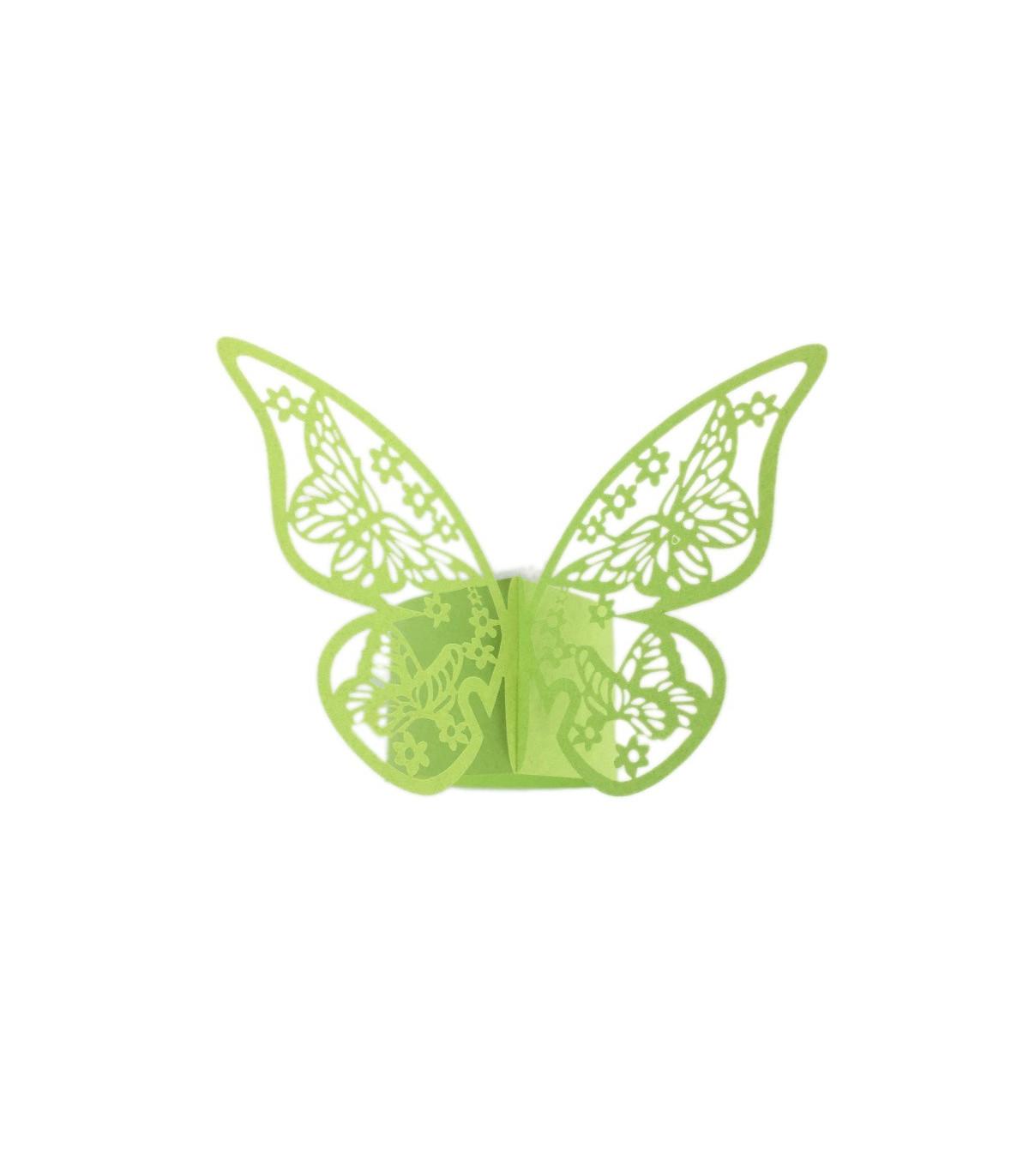 Rond de serviette mariage bapt me d coration table papillon vert pomme 12 pcs couleur vert - Pomme papillon ...