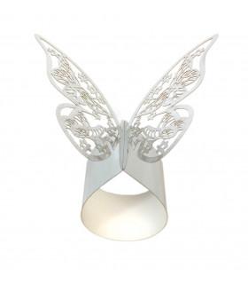 Rond de serviette mariage baptême décoration table Papillon Argent 12 pcs