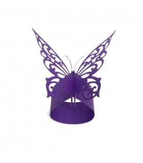 Rond de serviette mariage baptême Papillon chic Violet 12 pcs