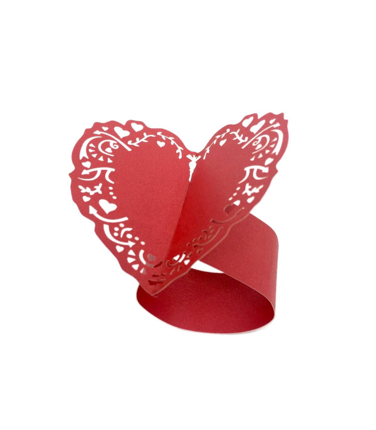 Diy Rond De Serviette rond de serviette mariage,baptême coeur rouge couleur rouge