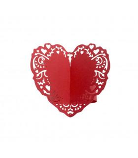 Rond de serviette mariage,baptême Coeur Rouge 12pcs