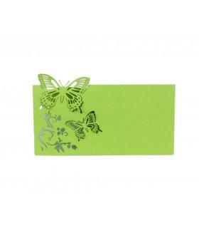 Marque Place table de fête modèle papillon en relief Vert pomme 20pcs
