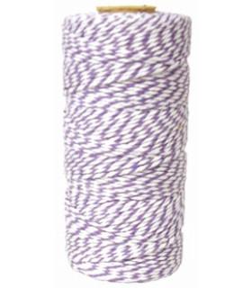 Bobine ficelle coton baker twine 100M Parme/Blanc