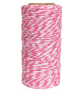 Bobine ficelle coton baker twine 100M Rose/Blanc