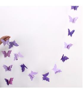 Guirlande papillon en papier 3D bicolor 2,8M Violet/Parme