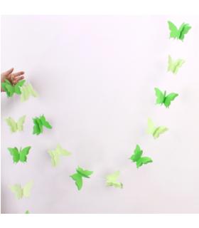 Guirlande papillon en papier 3D bicolor 2,8M Vert pomme/Vert d'eau
