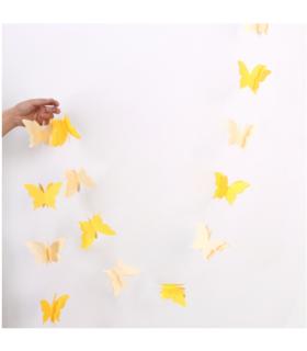 Guirlande papillon en papier 3D bicolor 2,8M Jaune/Crème