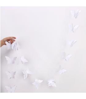 Guirlande papillon en papier 3D Blanc 2,8M