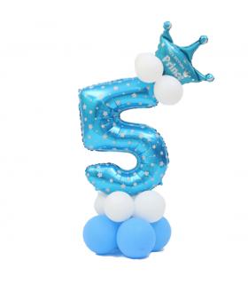 Kit Ballon Anniversaire Chiffre 5 garcon Bleu