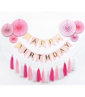 Guirlande Fanion Happy Birthday Rose/Or 3M