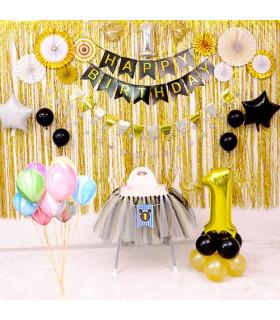 Guirlande Fanion Happy Birthday Noir/Or 3M