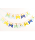 Guirlande Fanion Happy Birthday Bleu/Jaune/Or  3M