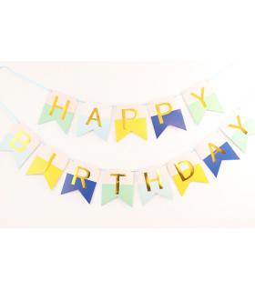 Guirlande Fanion Happy Birthday Bleu/Jaune/Or  3M